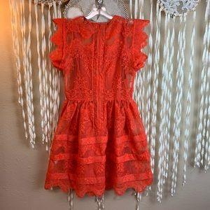 Marissa Webb Orange Lace Mini Dress Size XS